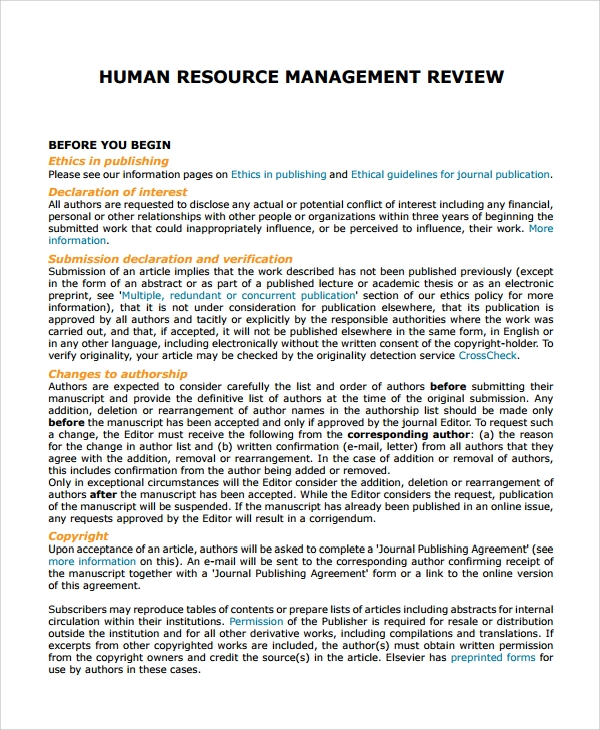 human resources management review