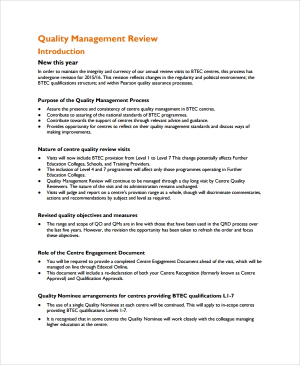 7 management review templates sample templates for Quality control procedure template
