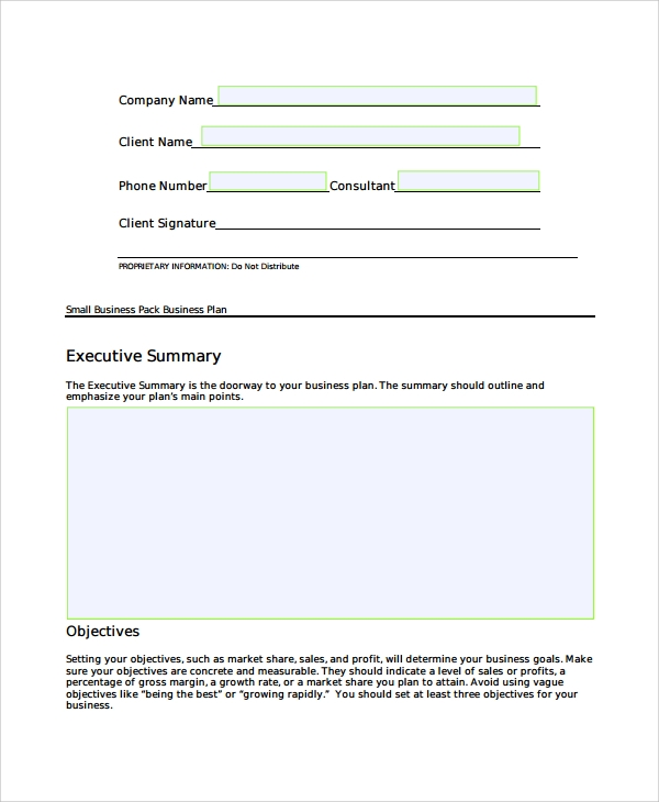 Sample Short Business Plan Template 7 Free Documents
