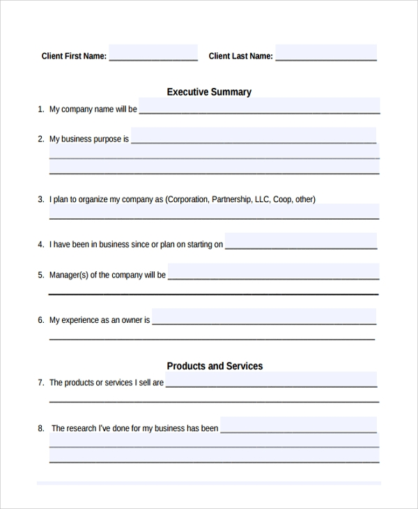 sample short business plan template