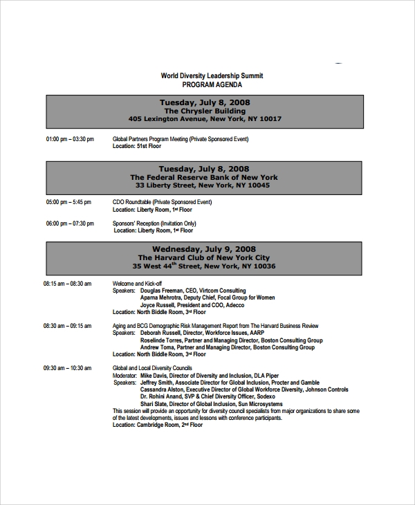 Sample Event Agenda 7 Documents in PDF Word – Event Agenda
