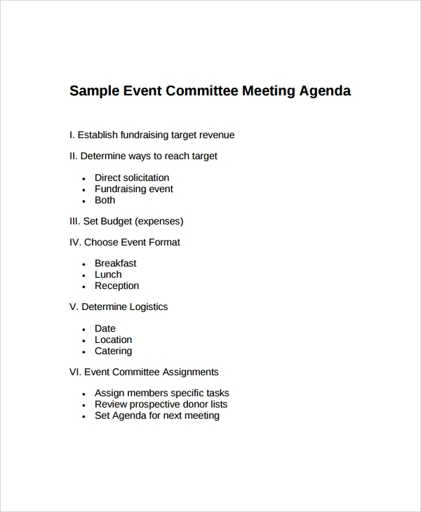 event meeting agenda