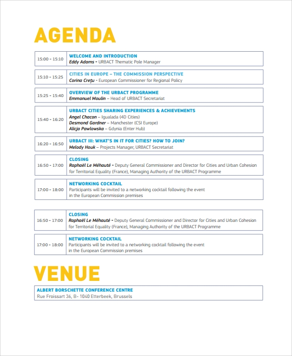 Sample Event Agenda   Documents In Pdf Word