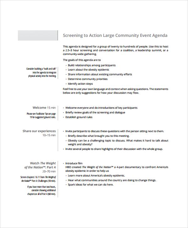 community event agenda