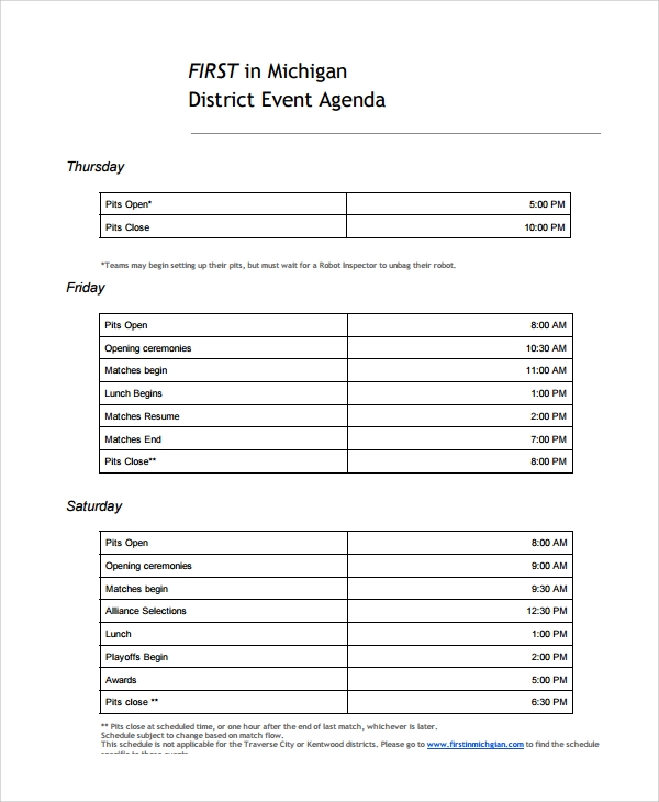 Sample Event Agenda - 7+ Documents In Pdf, Word