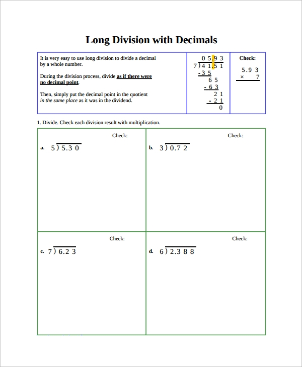 Sample Long Division Worksheet Template   Free Documents Download