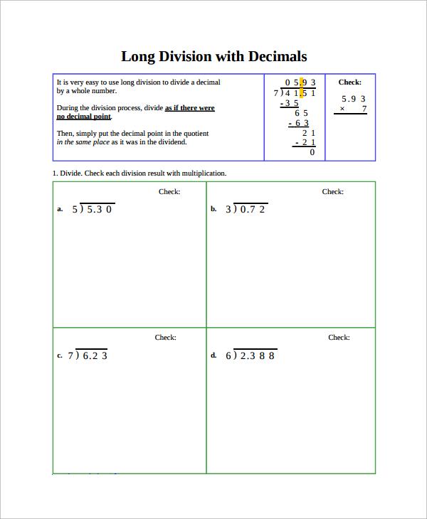 Long division decimals worksheets free