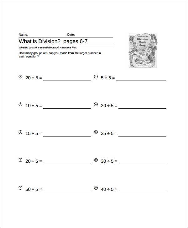 Sample Long Division Worksheet Template 9 Free Documents – Decimal Long Division Worksheets