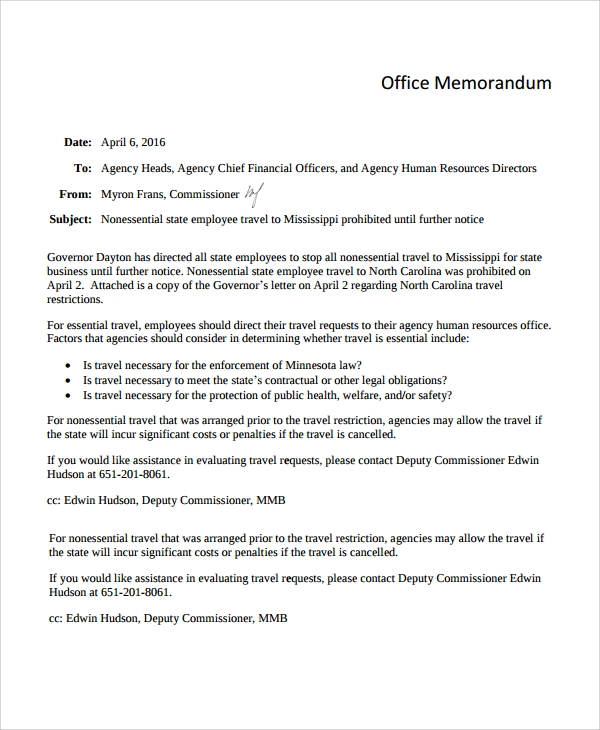 Sample Office Memo Templates - 8+ Free Documents Dowload In Pdf, Word