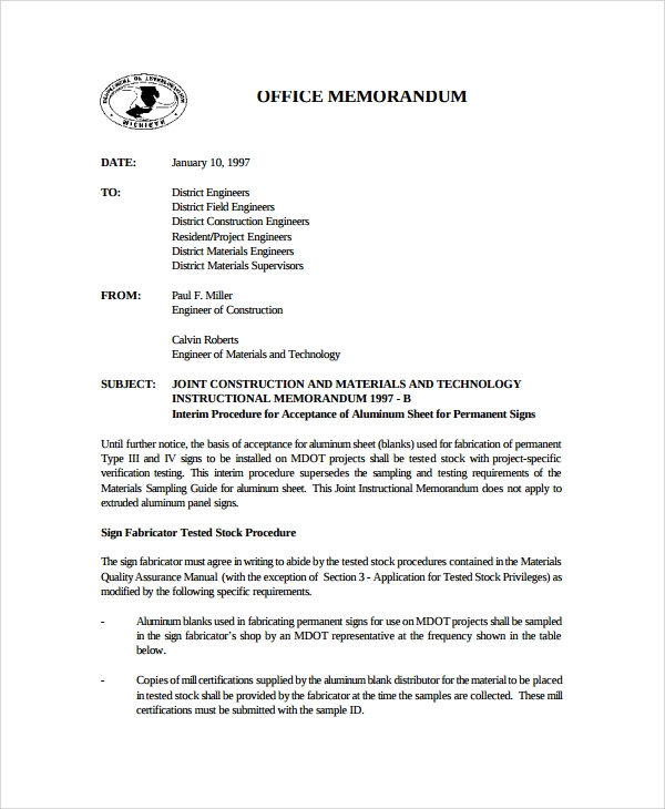 Confidential Memo Template 11 Office Memorandum – Interoffice Memo Sample Format