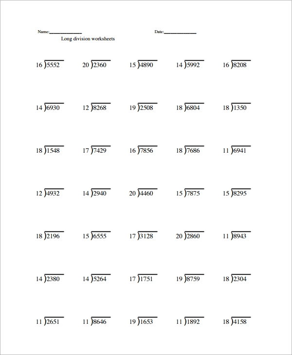 Sample Long Division Worksheet Template 9 Free Documents – Worksheet on Long Division