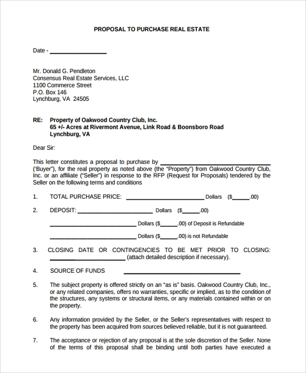 Sample Real Estate Proposal Template - 7+ Free Documents Download