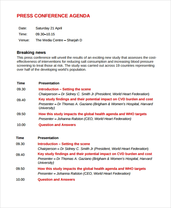 Sample Conference Agenda 7 Documents in PDF Word – Conference Schedule Template