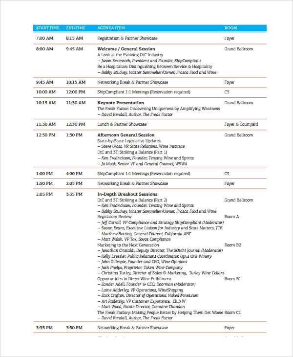 Sample Conference Agenda 7 Documents in PDF Word – Conference Agenda Sample