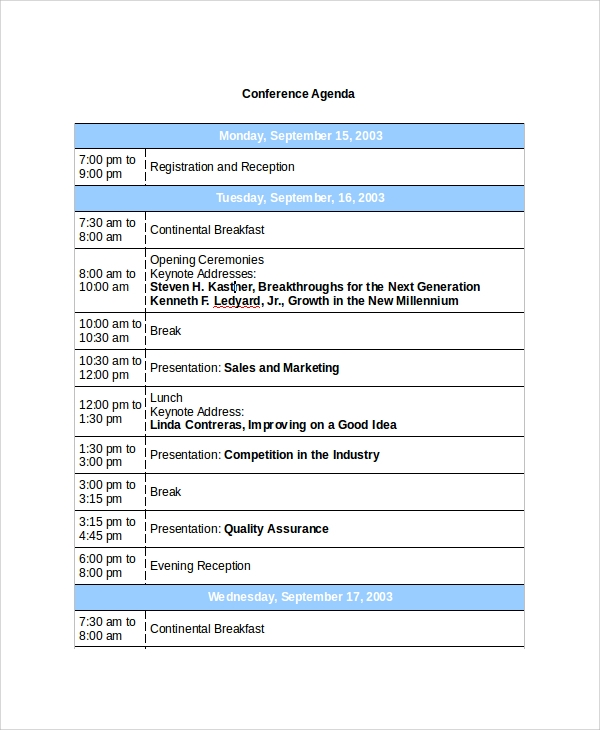 Conference Agenda Example  PetitComingoutpolyCo