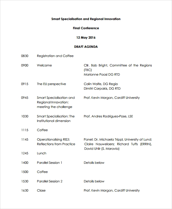 Sample Conference Agenda 7 Documents in PDF Word