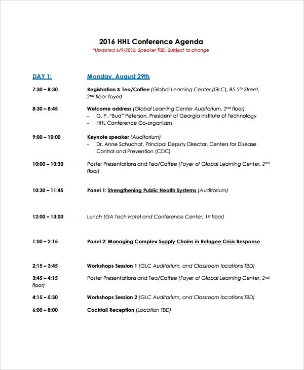 downloadable conference agenda