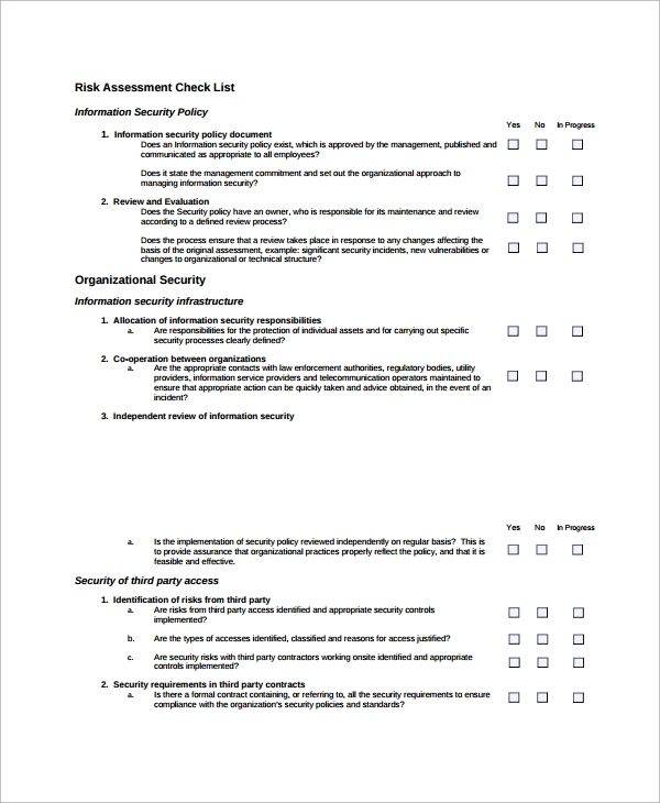 Sample Risk Assessment Checklist Template - 9+ Free Documents ...