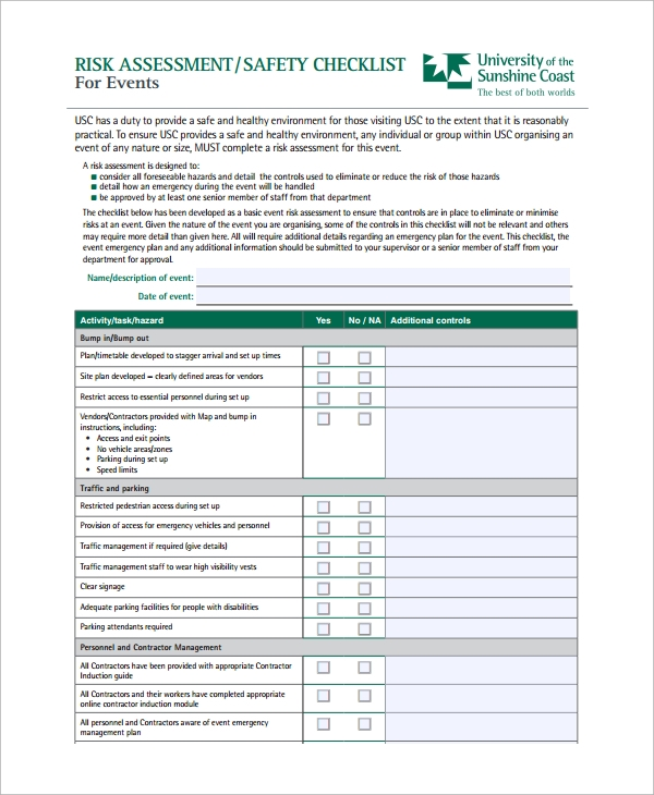 Sample Risk Assessment Checklist Template   Free Documents
