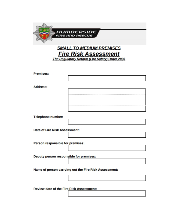 Sample Risk Assessment Checklist Template 9 Free Documents