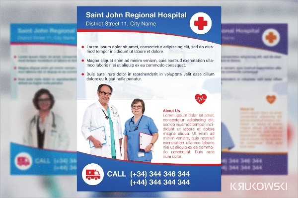 hospital flyer template vector