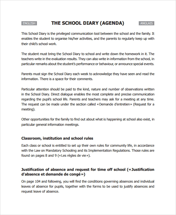 Sample School Agenda - 7+ Documents In Pdf, Word