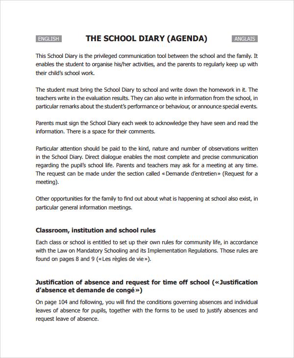 Sample School Agenda   Documents In  Word