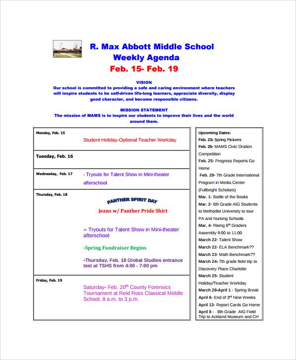 weekly school agenda