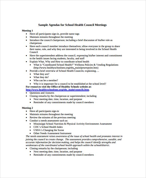 school agenda templates