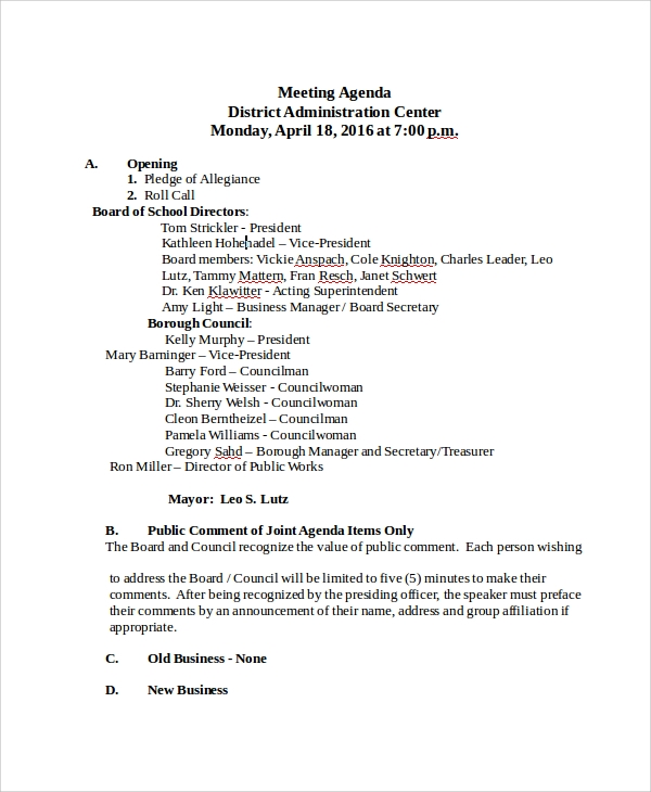 8 sample school agenda templates sample templates for First board meeting agenda template
