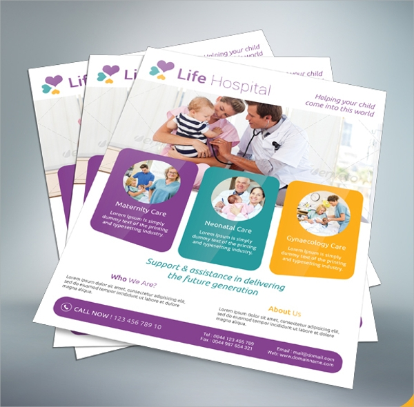 creative hospital flyer template