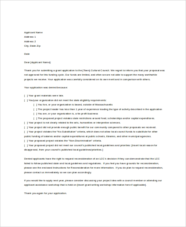 Sample Disapproval Letter - 6+ Free Documents Download In Word, Pdf