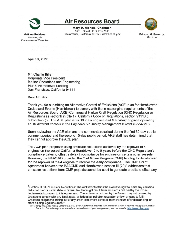 disapproval letter for hornblowers ace plan