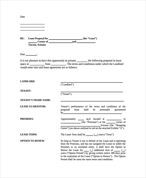 Sample Real Estate Proposal Template 7 Free Documents Download – Commercial Proposal Format