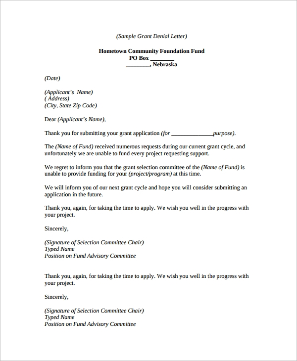 9 denial letters sample templates for Application for funding letter template