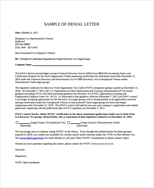 Sample Rental Application Denial Letter