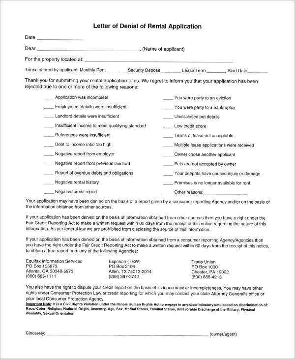 rental application denial letter illinois The application of either or both laws should be  special landlord and tenant laws for military personnel  a service member can provide a letter from his or her.