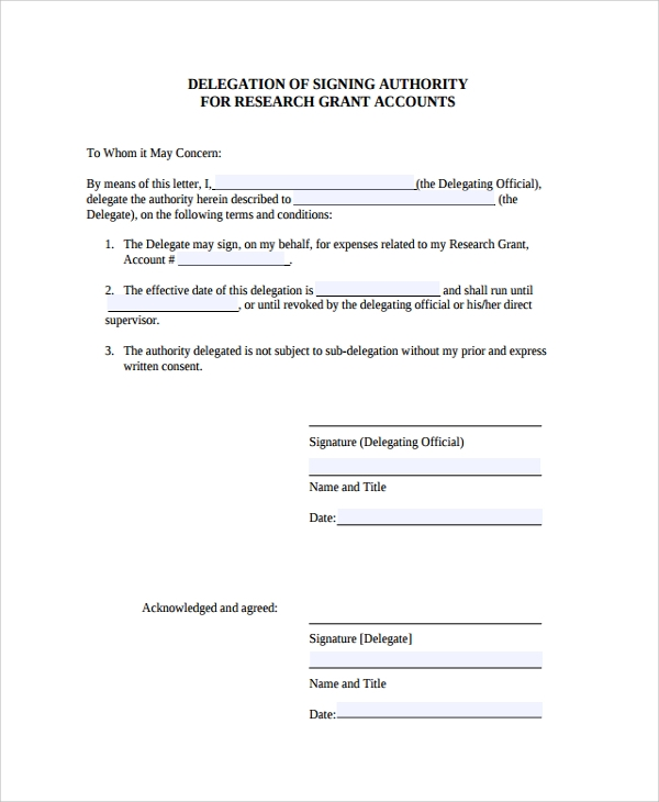 delegation of authority letter 10  Delegation Letters – PDF, Word | Sample Templates