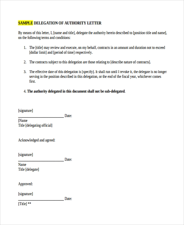 Sample Delegation Letter   Free Documents Download In Pdf Word