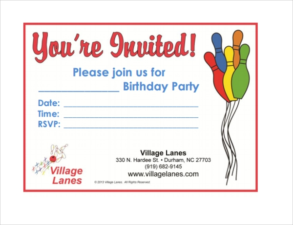 Sample Bowling Invitation Template   Free Documents Download In