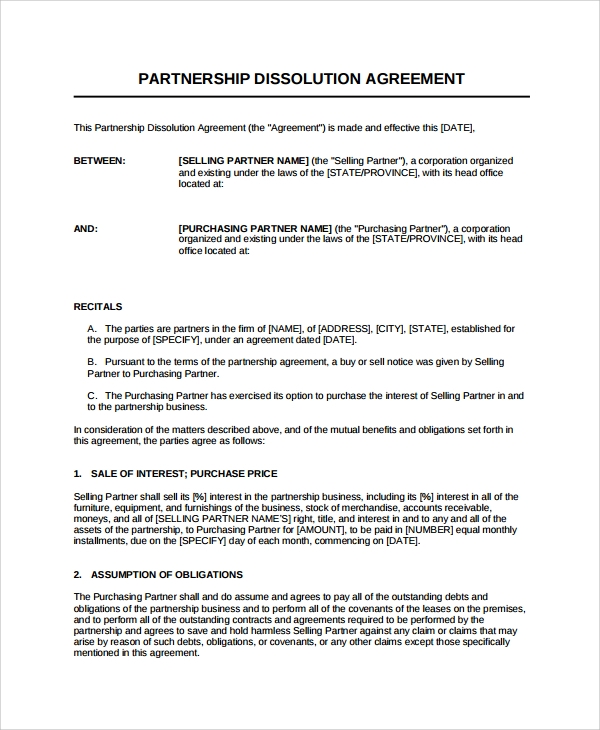 8 partnership dissolution agreement templates sample for Corporate partnership agreement template