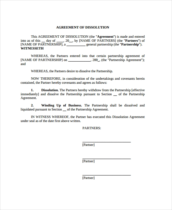 general partnership dissolution agreement