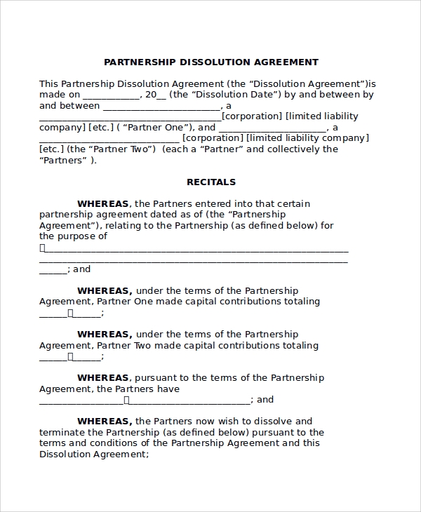 Sample Partnership Dissolution Agreement Templates   Free