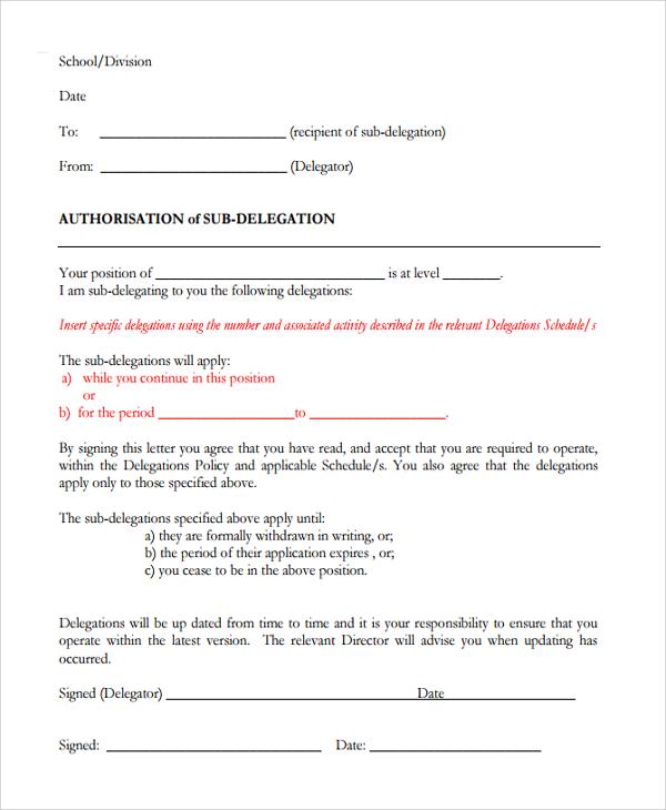 sub delegation letter template
