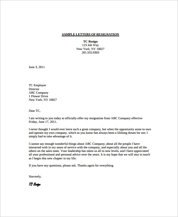 advice resignation letter