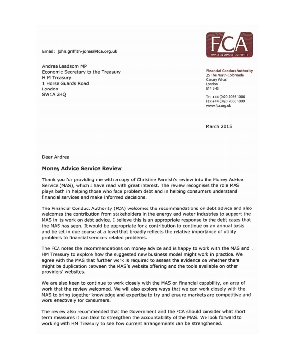 money advice service review letter