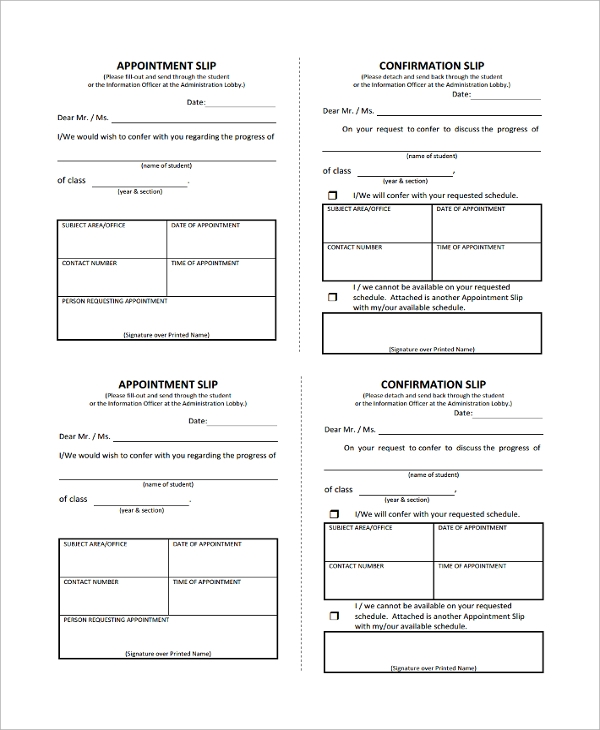 Sample Appointment Slip Template   Free Documents Download In
