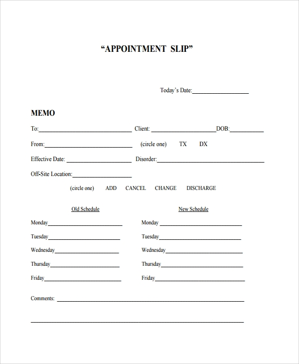 sample appointment slip template