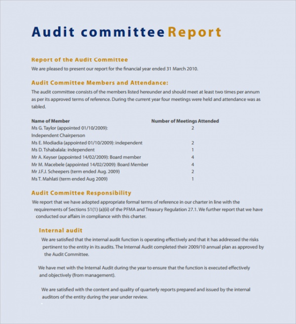 Audit Committee Report Template  External Audit Report Template