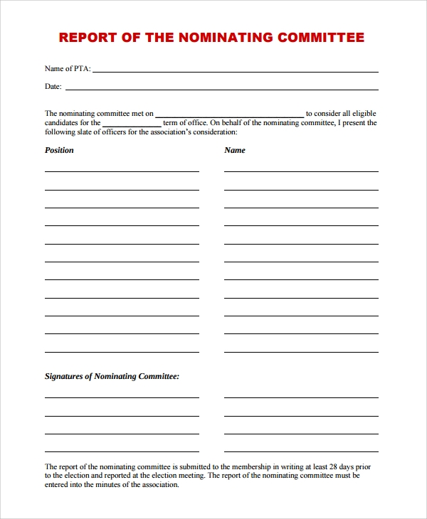 Nominating Committee Report Template  Business Meeting Report Template